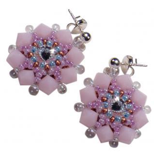 Kristall-Ohrstecker Perlenblume mit SWAROVSKI ELEMENTS. Rosa - Vorschau 1