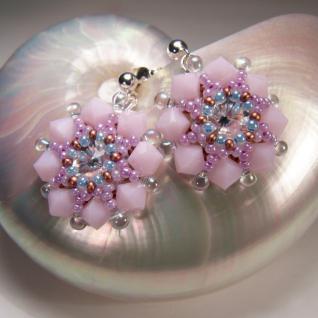 Kristall-Ohrstecker Perlenblume mit SWAROVSKI ELEMENTS. Rosa - Vorschau 3