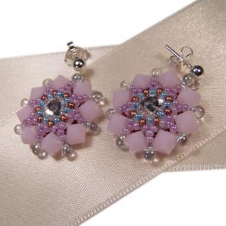Kristall-Ohrstecker Perlenblume mit SWAROVSKI ELEMENTS. Rosa - Vorschau 2