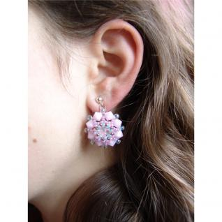 Kristall-Ohrstecker Perlenblume mit SWAROVSKI ELEMENTS. Rosa - Vorschau 5
