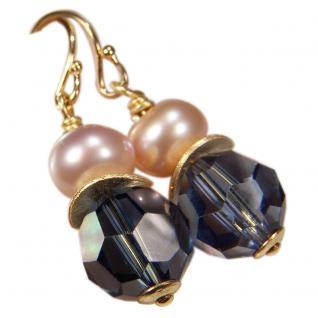 Ohrhänger mit SWAROVSKI Elements, Süßwasserperle und Silber vergoldet. Dunkelblau - Vorschau 1