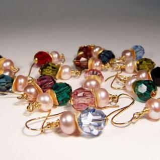 Ohrhänger mit SWAROVSKI Elements, Süßwasserperle und Silber vergoldet. Oliv - Vorschau 4