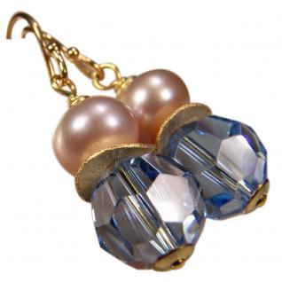 Ohrhänger mit SWAROVSKI Elements, Süßwasserperle und Silber vergoldet. Hellblau