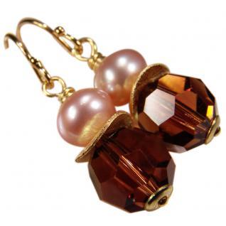 Ohrhänger mit SWAROVSKI Elements, Süßwasserperle und Silber vergoldet. Braun