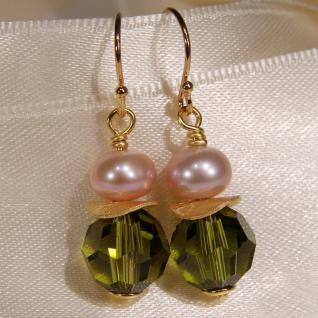 Ohrhänger mit SWAROVSKI Elements, Süßwasserperle und Silber vergoldet. Oliv - Vorschau 3