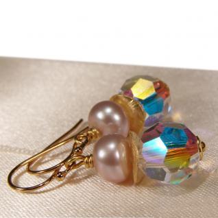 Ohrhänger mit SWAROVSKI Elements, Süßwasserperle und Silber vergoldet. Kristallschimmer - Vorschau 2