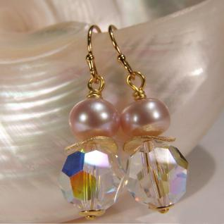 Ohrhänger mit SWAROVSKI Elements, Süßwasserperle und Silber vergoldet. Kristallschimmer - Vorschau 3