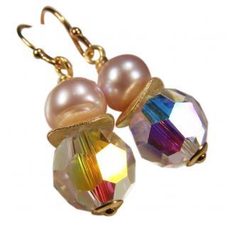 Ohrhänger mit SWAROVSKI Elements, Süßwasserperle und Silber vergoldet. Kristallschimmer - Vorschau 1