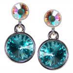 Silberne Kristall-Ohrringe mit SWAROVSKI ELEMENTS. Aquamarin-Opalschimmer