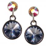 Silberne Kristall-Ohrringe mit SWAROVSKI ELEMENTS. Blau-Opalschimmer