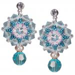 Kristall-Ohrringe mit SWAROVSKI ELEMENTS. Aquamarinblau