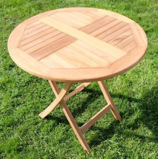 TEAK Gartentisch klappbar rund 80cm COAMO