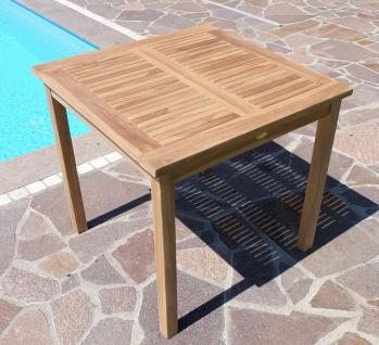 TEAK Holztisch Gartentisch Garten Tisch 80x80cm Gartenmöbel Holz geölt sehr robust Modell: ALPEN80