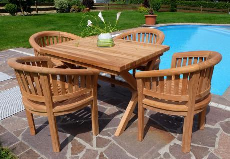 Rustikale Super Edle TEAK Gartengarnitur Gartenset Gartenmöbel 4 Sessel COCO + Tisch RIO Holz