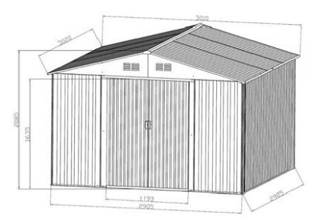 gartenhaus ger teschuppen 9 09m aus verzinktem stahlblech metall gr n kaufen bei as handelsgmbh. Black Bedroom Furniture Sets. Home Design Ideas