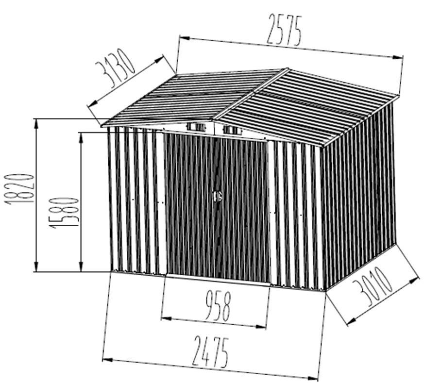 gartenhaus ger teschuppen 8m aus verzinktem stahlblech. Black Bedroom Furniture Sets. Home Design Ideas