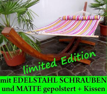 410cm XXL Luxus Hängemattengestell LIMITED EDITION aus Holz Lärche geölt mit Stab Hängematte (EDELSTAHL - GEPOLSTERT)
