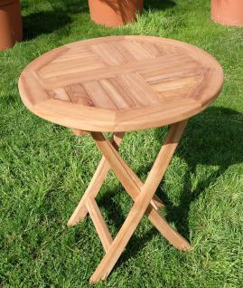 TEAK Klapptisch Holztisch Gartentisch Garten Tisch rund 60cm COAMO Holz geölt