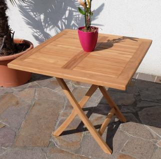B-WARE-TEAK Klapptisch Holztisch Gartentisch Garten Tisch 80x80 cm AVES Holz geölt