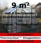 9m² PROFI ALU Gewächshaus Glashaus Treibhaus inkl. Stahlfundament u. 4 Fenster, mit 6mm Hohlkammerstegplatten - (Platten MADE IN AUSTRIA/EU) inkl. 2 autom. Fensteröffner