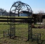 Eleganter Rosenbogen Rankhilfe mit 2 Pflanzplätzen aus Metall schwarz Mod.5044-H