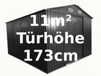 """Gartenhaus Geräteschuppen 11m² aus verzinktem Stahlblech Metall grau """" mit großer Türe"""""""