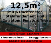 12, 5m² PROFI ALU Gewächshaus Glashaus Treibhaus inkl. Stahlfundament u. 6 Fenster, mit 6mm Hohlkammerstegplatten - (Platten MADE IN AUSTRIA/EU) inkl. 2 autom. Fensteröffner
