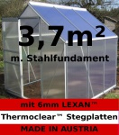 3, 7m² ALU Aluminium Gewächshaus Glashaus Tomatenhaus, 6mm Hohlkammerstegplatten - (Platten MADE IN AUSTRIA/EU) mit Stahlfundament und 1 Fenster