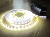 SET ULTRA-HIGHPOWER LED Strip Streifen Leiste SUPERHELL 5mt neutralweiß natur weiss naturweiß 300LED inkl. Netzteil (Pro-Serie) 24V TÜV/GS geprüft, 6250Lumen