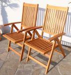 Doppelpack 7-fach verstellbarer Gartenstuhl LIMA klappbar aus Eukalyptus Hartholz wie TEAK