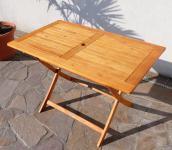 klappbarer Gartentisch 120x70cm aus Eukalyptus wie Teak