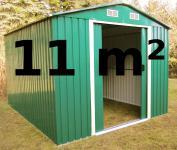 Gartenhaus Geräteschuppen 11m² aus verzinktem Stahlblech Metall grün