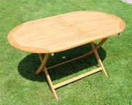 klappbarer Gartentisch oval 150x90cm BARBADOS aus Eukalyptus wie Teak
