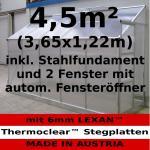Komplett Set: 4, 5m² Profi - Anlehn Gewächshaus Anlehngewächshaus Glashaus m. 6mm Hohlkammerstegplatten - (Platten MADE IN AUSTRIA) mit 2 Fenster mit autom. Fensteröffnern und Stahlfundament
