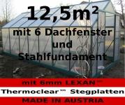 12, 5m² PROFI ALU Gewächshaus Glashaus Treibhaus inkl. Stahlfundament u. 6 Fenster, mit 6mm Hohlkammerstegplatten - (Platten MADE IN AUSTRIA/EU)