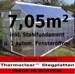 KOMPLETTSET: 7, 05m² ALU Aluminium Gewächshaus Glashaus Tomatenhaus, 6mm Hohlkammerstegplatten - (Platten MADE IN AUSTRIA/EU) m. Stahlfundament 2 Fenster und 1 autom. Fensteröffner