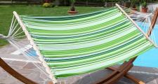 Hängematte 120x200cm GRÜN gestreift aus Baumwolle