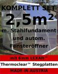 KOMPLETTSET: 2, 5m² ALU Aluminium Gewächshaus Glashaus Tomatenhaus, 6mm Hohlkammerstegplatten - (Platten MADE IN AUSTRIA/EU) m. Stahlfundament, 1 Fenster mit autom. Fensteröffner