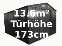 """Gartenhaus Geräteschuppen 13m² aus verzinktem Stahlblech Metall grau """" mit großer Türe"""""""