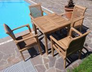 TEAK Set Gartentisch + 4x Sessel ALPEN