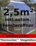 2, 5m² ALU Aluminium Gewächshaus Glashaus Tomatenhaus, 6mm Hohlkammerstegplatten - (Platten MADE IN AUSTRIA/EU) mit 1 Fenster und autom. Fensteröffner