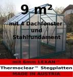 9m² PROFI ALU Gewächshaus Glashaus Treibhaus inkl. Stahlfundament u. 4 Fenster, mit 6mm Hohlkammerstegplatten - (Platten MADE IN AUSTRIA/EU)