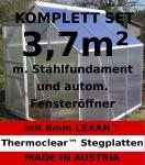 KOMPLETTSET: 3, 7m² ALU Aluminium Gewächshaus Glashaus Tomatenhaus, 6mm Hohlkammerstegplatten - (Platten MADE IN AUSTRIA/EU) m. Stahlfundament, 1 Fenster mit autom. Fensteröffner