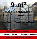 Komplettset: 9m² PROFI ALU Gewächshaus Glashaus Treibhaus inkl. Stahlfundament u. 4 Fenster, mit 6mm Hohlkammerstegplatten - (Platten MADE IN AUSTRIA/EU) inkl. 4 autom. Fensteröffner