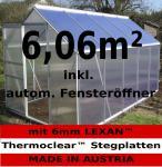 6, 06m² ALU Aluminium Gewächshaus Glashaus Tomatenhaus, 6mm Hohlkammerstegplatten - (Platten MADE IN AUSTRIA/EU) inkl. 1 Fenster mit autom. Fensteröffner