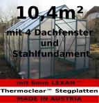 10, 4m² PROFI ALU Gewächshaus Glashaus Treibhaus inkl. Stahlfundament u. 4 Fenster, mit 6mm Hohlkammerstegplatten - (Platten MADE IN AUSTRIA/EU)