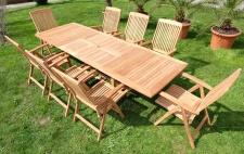 Edle TEAK XXXL Gartengarnitur Gartenset Gartenmöbel Ausziehtisch 200-250-300cm + 8 Hochlehner Sessel TOBAGO Holz geölt