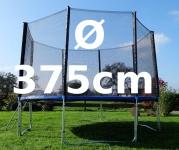 Outdoor Gartentrampolin Trampolin XL - 375cm komplett inkl. Sicherheitsnetz und Leiter TÜV geprüft