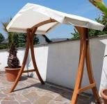 "Design Hollywoodschaukel Gestell "" KUREDO/ARUBA"" aus Holz Lärche mit Dach"