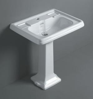 Waschbecken ohne hohem Rand, Einloch, für Dreilocharmatur vorgesehen, - Vorschau 1